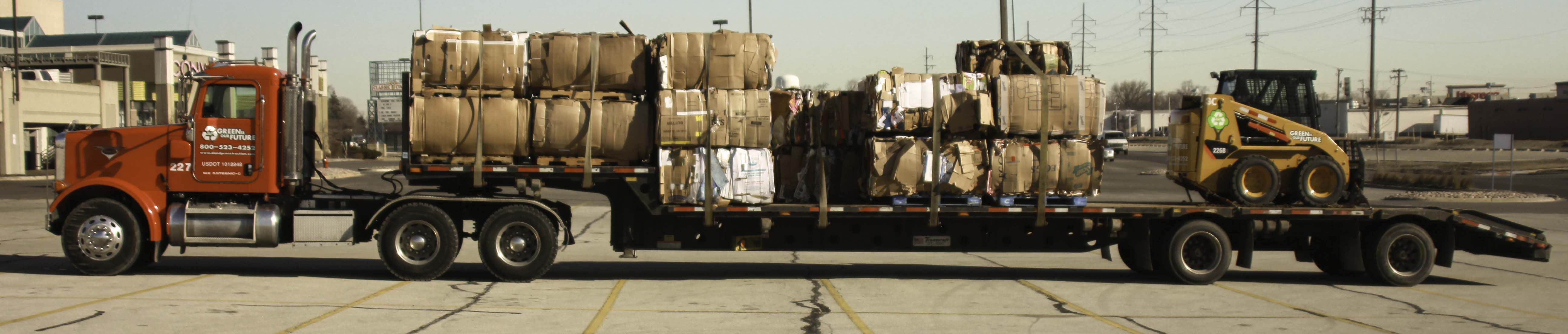 D&P Cardboard trailer on route picking up material.